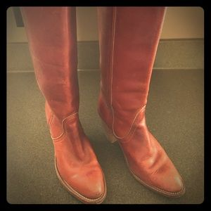 Vintage Frye Tall Western Pull-up Leather Boots